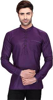 Indian Women Sarees Designer Stylish Mens Regular Daily wear Comfortable and Relaxing Purple Cotton Short Kurta for Men. I...