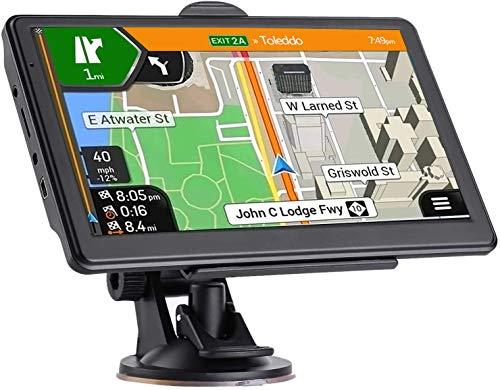 Navigatore Satellitare Auto per Camion,Ultima Mappa Touchscreen 7 Pollici 8G 256M Sistema di Navigazione con Guida Vocale e Avviso Autovelox, Aggiornamento Mappe Gratuito a Vita