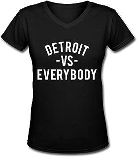 Detroit VS Everybody Womens V-Neck Tshirt Short Sleeve