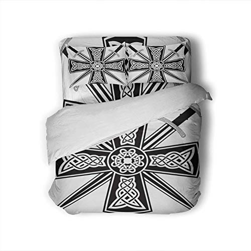 Tstyrea Celtic with The ed Swords,Full Size Cotton Sateen Sheet Set - 4 Piece - Supersoft Full