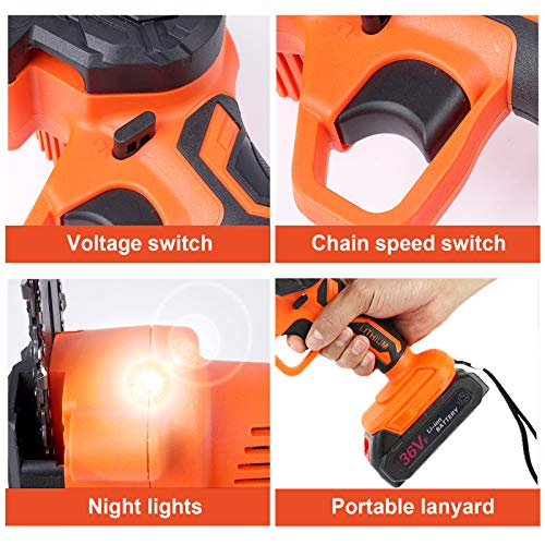 Mini Chainsaw Cordless Battery Saws, Upgraded 6-Inch 36V Power Chain Saws, Portable one-Hand Operated Electric Saw for Courtyard Tree Branch Wood Cutting (2pcs Batterie+ 2pcs Chain)