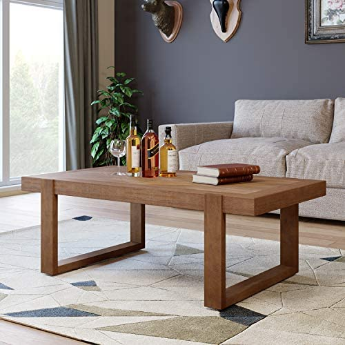 Best HOMECHO Solid Wood Coffee Table for Living Room, Diamond Shape Pattern, Rustic Accent Furniture for