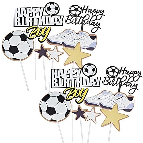 14 Pcs Torta de Fútbol Football Cake Topper Decoración para Tartas de Fútbol de Cumpleaños Adornos para Fiestas Deportivas Happy Birthday Cake Topper Fiesta de Futbol Decoración de Fiesta Deportiva