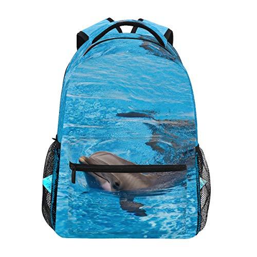 Ahomy Rucksack Delfin, schwimmen blaues Wasser tropische Meer Rucksack Schultasche für Mädchen Jungen Frauen Ideal Reise Tag Schulterpack
