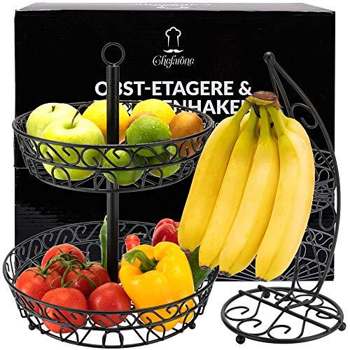Chefarone Obst Etagere und Bananenständer als dekoratives Set - Obstkorb schwarz - Obstschale Metall mit Ständer für extra viele Bananen