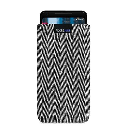 Adore June Business Tasche für Google Pixel 3 XL/Pixel 2 XL Handytasche aus charakteristischem Fischgrat Stoff - Grau/Schwarz | Schutztasche Zubehör mit Bildschirm Reinigungs-Effekt | Made in Europe