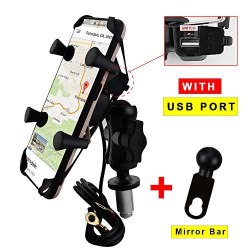 Soporte de teléfono para motocicleta con cargador, soporte para teléfono móvil, para cámara de navegación para BMW S1000RR Yamaha YZF Honda CBR 250RR Kawasaki Ninja Suzuki GSXR 600 1000 GSX1300R