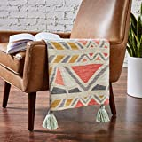 Amazon Brand – Rivet Contemporary Vivid Pattern Throw Blanket - 60 x 50 Inch, Pink Yellow / Gray