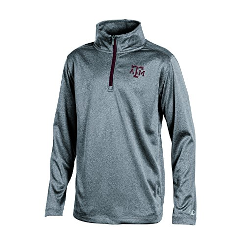 Champion NCAA Texas A&M Aggies Youth Boys Heather Double Knit Mesh Quarter Zip Jacket, Gray Heather, Large