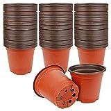 Acreny 100pcs Bicolor Flower Pot Macetas de vivero de plástico Simples para Plantas suculentas Maceta de Inicio de Semillas