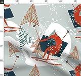 Ski, Winter, Retro Stoffe - Individuell Bedruckt von