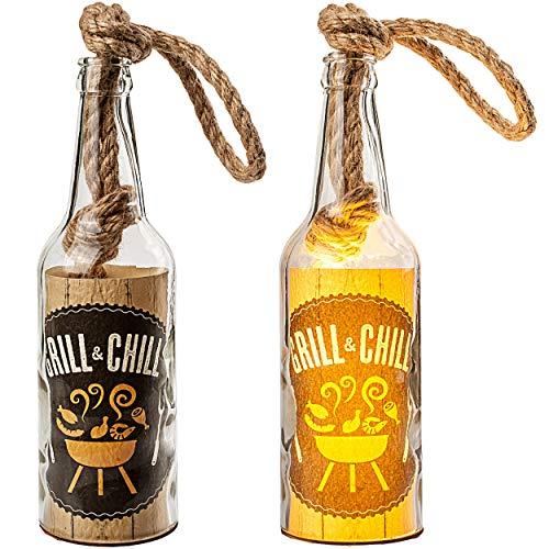 alles-meine.de GmbH 2 Stück _ Glas - Lichterflaschen - 6 Stück LED _ Grill & Chill _ LICHT Dekoflaschen / Flaschen / Bierflaschen - 25 cm - Batterie betrieben - warmweiß - Flasch..