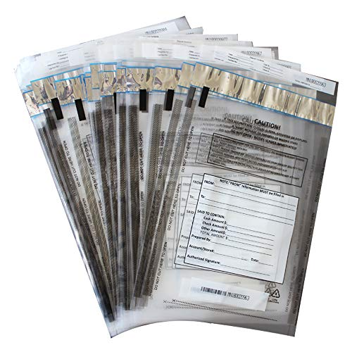 ZMYBCPACK 100 Pack Clear FREEZFraud Deposit Bags, Tamper-Evident Bags, Security Bank Pocket, 9 x 12 Inches