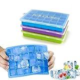 Morfone Bandejas para hielo silicona, juego de 3 moldes hielo con tapa, alimentos grado silicona moldes sin BPA, , cuadrados pequeños caja de hielo para agua, cóctel y otras bebidas