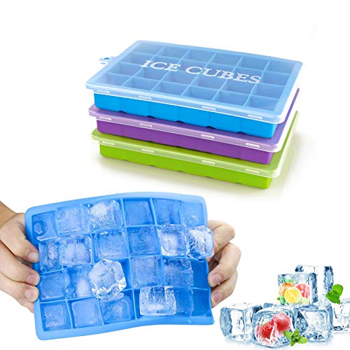 Morfone Ice Cube Trays 3 Pack, Silicone Ice Molds with Removable Lid Easy-Release Flexible Ice Cube Tray 24 Cubes per Tray for Cocktail, Whiskey, Baby Food, Chocolate, BPA Free, LFGB Certified