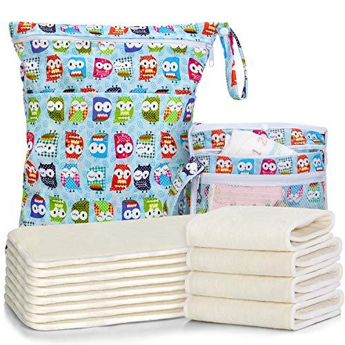 Luxja Stoffwindeleinlagen Set, 12 Stück Wiederverwendbare Babywindeln mit Wetbag und Wickelunterlage, Windeleinlagen aus Bambusfaser, Bambusfaser(flache Version)