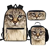 AFPANQZ 3D Cat Head Laptop Backpack Set 3 in 1 Bookbag Bulk Front Pocket Thermal Lunch Bag Cooler Bento Tote with Water Bottle Pocket Portable Pencil Box Cases Small School Supplies Girl Women Men