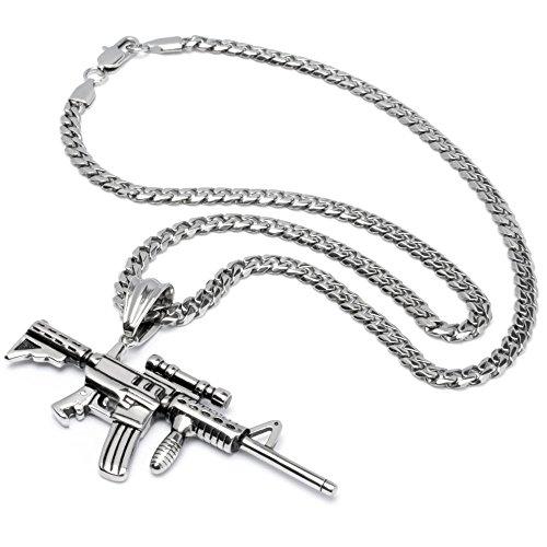 XL Edelstahl Herren Anhänger Gewehr Pistole Waffe AK-47 Desert Eagle Colt Revolver 50cm Panzerkette (Colt M4-Karabiner)