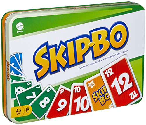 Skip Bo Card Game in Decorative Tin with 162 Cards, Sequencing Family Game for 2 to 6 Players, Kids Gift for Ages 7 Years & Older [Amazon Exclusive]