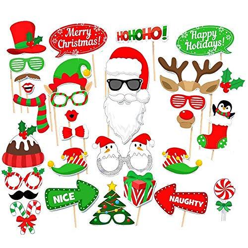 BluVast Weihnachten Fotorequisiten,Photo Booth Requisiten,Foto Accessoires Weihnachten 32 GRAF, Weihnachten Winter Urlaub Party Lieferung Neues Jahr Party Dekorationen