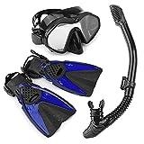 HGYJ Pacchetti Snorkeling per Adulti, Sistema Snorkeling Completamente Asciutto+Maschera Subacquea in Silicone Campo visivo HD+Pinne Regolabili Tuta in Tre Pezzi, per Immersioni Nuoto,Blue, S/M