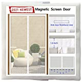 Odocovo Magnetic Screen Door for French Doors [2021 Newest Version]72x80 with 36 Magnets Sewn-in& 8 Weighted Gravity Sticks,Full Frame Seal Reinforced Fiberglass Mesh Double Door Screen,White