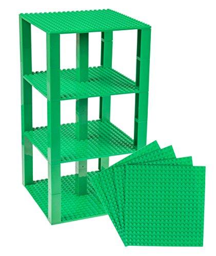 Strictly Briks Pack de 4 Bases con Ladrillos separadores 2 x 2 - Construcción en Forma de Torre - Compatible con Todas Las Marcas - 15,24 x 15,24 cm - Verde