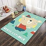 QNYH Alfombrilla para decoración de habitación Infantil, Alfombra para niños pequeños con Estampado de Bosque de Oso de Dibujos Animados, Alfombra Antideslizante de poliéster Suave 80cmx150cm