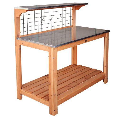 Habau 695 Gartentisch mit verzinkter Arbeitsplatte, Natur 101 x 55 x 117 cm