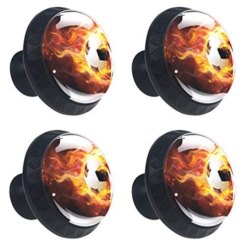 AITAI Set di 4 pomelli decorativi per porta con manico da calcio e fuoco palla di fuoco, accessorio elegante per armadio, cassetto, camera da letto
