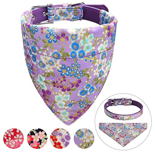 Vaburs Dog Collar and Dog Bandana, Pet Collar Fancy Dog Collar with Bandana for Small Medium and Large Dogs Adjustable(M-Purple)