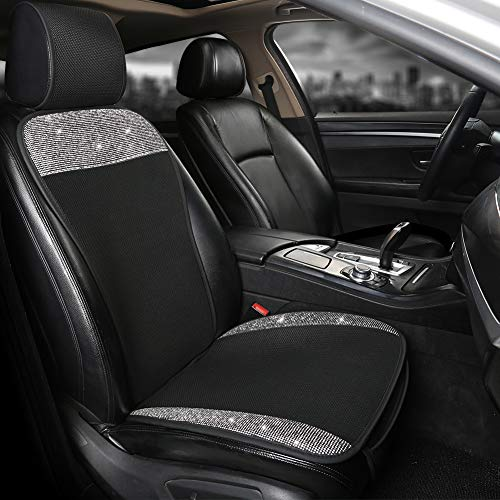 Black Panther Breathable Mesh Front Car Seat Cover Protector with Bling Bling Crystal Rhinestones for Women Girls, Universal Fit 95% of Cars, Black