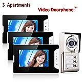 Knoijijuo Video-Telefon, Video Türklingel 3 Apartment, System Fest TFT 7-Zoll-Türsprech, 3 Display IR-Kamera + HD 1000 Cut con 3 teclas