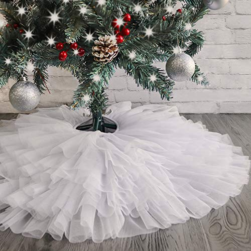 Ivenf Christmas Tree Skirt, 30 inches Small Tulle 6-Layer Ruffled Skirt, White Elegant Xmas Tree Holiday Decorations