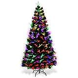 Goplus Albero di Natale Verde PVC con Decorazioni Neve e Stella di Natale LED, con Luci Colorate a Fibre Ottiche di 7 Colori Cambiameto Automatico, Supporto in Metallo, Altezza 150-210cm(150)