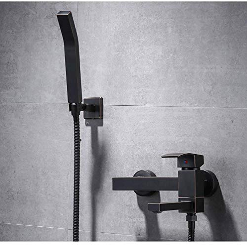 Discover Bargain Brass hot and Cold Bathtub Faucet Wall Mounted Shower Mixer tap Black Waterfall Bat...