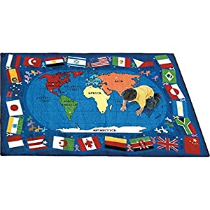 Joy Carpets Kid Essentials Geography & Environment Flags of The World Rug, Multicolored, 10'9″ x 13'2″