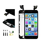with Front Camera Facing Proximity Sensor Earpiece Speaker Home Button Full Assembly Digitizer Display LCD Screen Replacement for iPhone 6s Plus 5.5 Inch Black