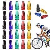 RuiChy 25 Stück Fahrrad Presta Ventilkappen, Mehrfarbig Eloxierte Aluminiumlegierung Radventilkappen, Französische Art Reifenkappen Staubschutzhüllen Ventilschaftkappen für MTB Rennrad
