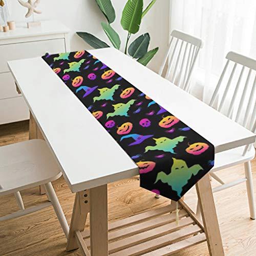 Wraill Chemin de table moderne en peluche pour Halloween Motif citrouille et esprit, Bois, Blanc, 229*33cm