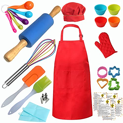 Complete Real Kids Baking set Cooking tools kit Includes Apron, Chef Hat, oven Mitt, Rolling Pin Cookie Cutter Recipes for Girls & Boys 42 pcs
