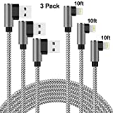 Lightning Cable Right Angle 10 ft Charger Cable 90 Degree Angle 3 Pack Nylon Braided Fast Charging & Syncing Cord Compatible with iPhone Xs MAX XR X 8 7 6 6s SE 5s 5c 5 (Silver Gray, 10 Feet) -  Quickeep