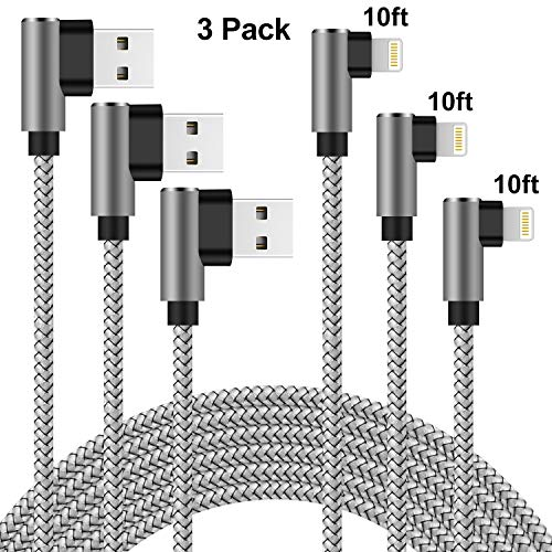 Lightning Cable Right Angle 10 ft Charger Cable 90 Degree Angle 3 Pack Nylon Braided Fast Charging & Syncing Cord Compatible with iPhone Xs MAX XR X 8 7 6 6s SE 5s 5c 5 (Silver Gray, 10 Feet)
