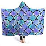 Manta con Capucha Acuarela Rainbow Mermaid Scale Premium Sherpa Manta de Tiro usable Reversible Durable Abrigo de Bata con Capucha Súper Suave y fácil de cuidar Manta de Tiro de 80 'x 60'