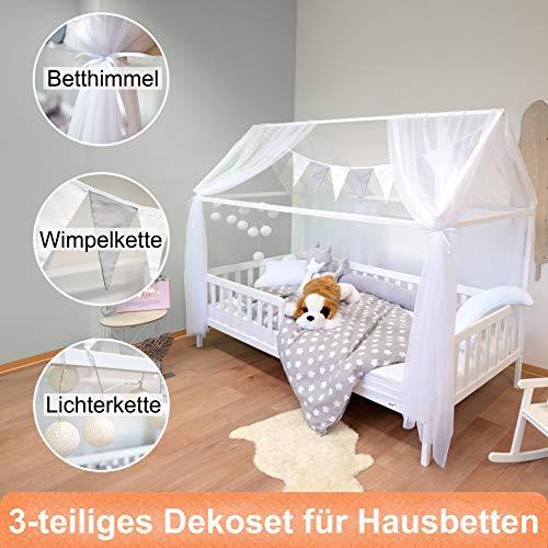 Alcube Hausbett-Deko, mit Baldachin, Lichterkette und Wimpel in grau-weiß, Himmel aus 2 riesigen Stoffbahnen je 160x290cm geeignet als Dekoration für Hausbetten von 160 bis 200 cm