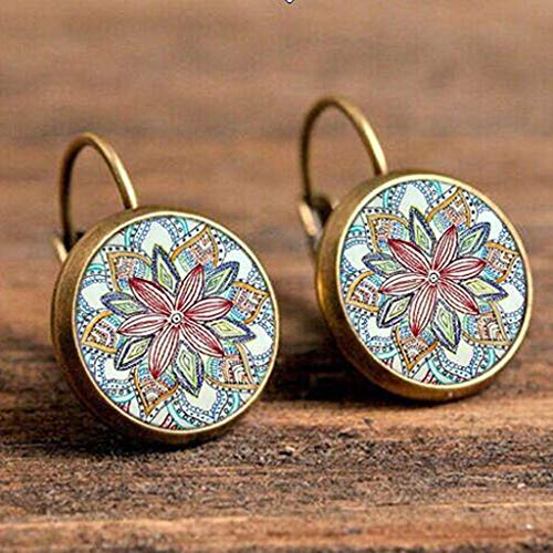 Peigen Earrings Women Girls Jewelry,Elegant Round Stud Ear Vintage Women Girls Lady Crystal Flower Hoop Earrings