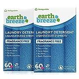 Earth Breeze - Liquid-less Laundry Detergent Sheets - Fragrance Free - No Plastic Jug (120 Loads) 60 Sheets (Pack of 2)