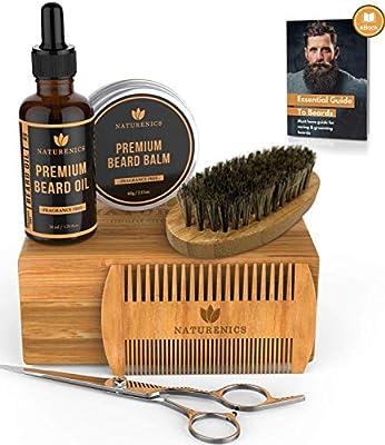 Naturenics Premium Beard Grooming Kit for Men - 100% Organic Unscented Beard Oil, Beard Balm Butter Wax, Beard Brush, Beard Comb, Beard Scissors for Beard & Mustache-with Bamboo Gift Set & eBook