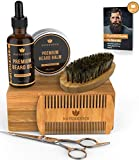 Naturenics Premium Beard Grooming Kit for Men - 100% Organic Unscented Beard Oil, Beard Balm Butter Wax, Beard Brush, Beard Comb, Beard Scissors for Beard & Mustache-with Bamboo Box & eBook
