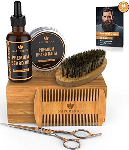 Naturenics Premium Beard Grooming Kit for Men - 100% Organic...